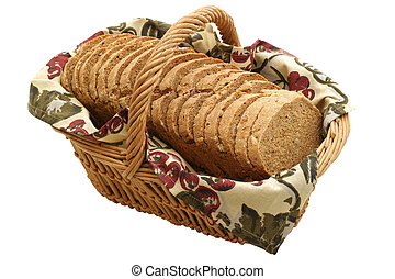 Hearty Bread Slices - Multi grain loaf in a basket Homemade...