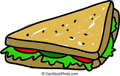sandwich - salad sandwich isolated on white drawn in toddler...
