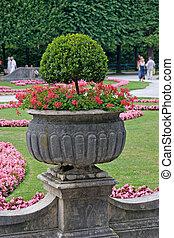 Planter - A flower planter in Mirabell Gardens, Salzburg,...