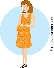 Pregnant Woman - A pregnant woman looking down at her belly