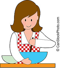 Woman Cooking - A woman stirring a recipe in a big bowl