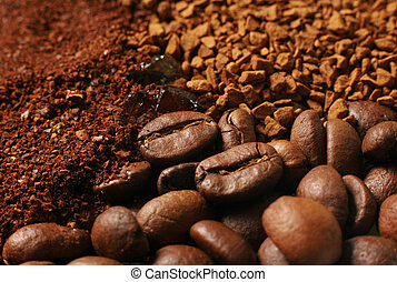 Coffee ground, coffee in granules, coffee in a grain
