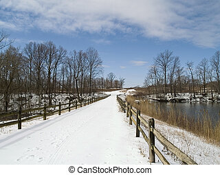 Snowy Bridge - A snowy bridge at Thompson State Park in...