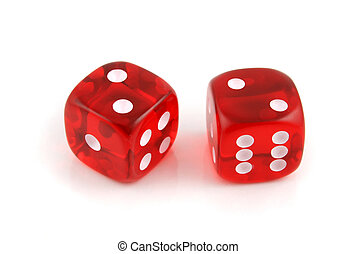 A Pair of 2s - 2 Dice close up- A Pair of 2s