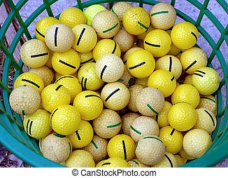 Golf Balls - Photographed basket of golf balls at driving...