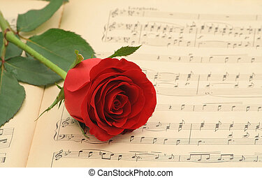 Old sheet music with rose - Vintage sheet music with red...