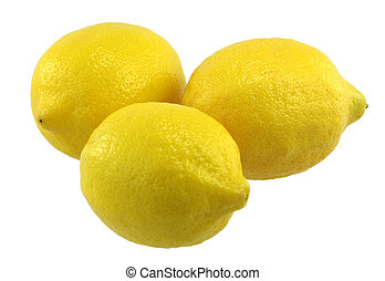 Three Lemons - Three lemons on white background.