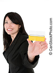 Join the club - Beautiful smiling woman holding a membership...