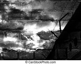 barbed wire - a barbed wire against background of a brick...