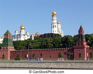 The Kremlin quay, the Moscow Kremlin, cathedral, tower, the...