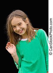 Cute, Smiling Little Girl Waving - Cute Little Girl in a...