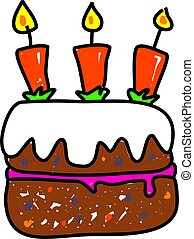 birthday cake isolated on white drawn in toddler art style