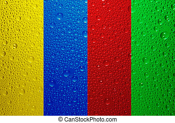 Water drops - Yellow, blue, red and green water drops