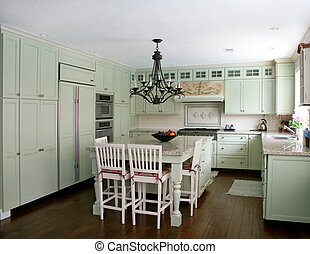 Country style kitchen - Country style pistachio kitchen with...