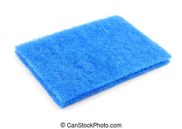 blue scrubber with white background