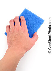 hand holding blue scrubber with white background