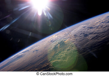 EARTH and SUNLIGHT - Earth Sun - Close up of planet with...