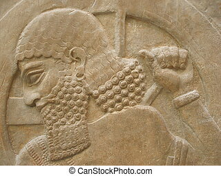 Ancient face - Ancient Assyrian Sculpture - face close up