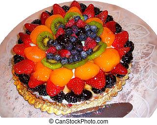 Fruit Tart - Elegant fruit tart pastry served for dessert on...