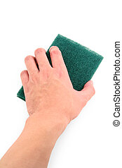 hand holding green scrubber with white background