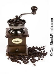 Coffee Grinder - Coffee bean and grinder in white...
