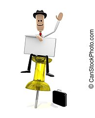 Dont Forget! - Businessman sitting on a pushpin with a...