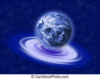 Earth on the ripple - The earth planet on a blue water...