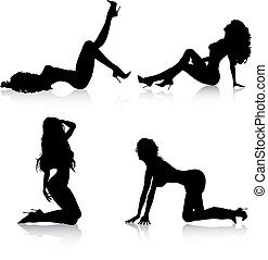 Sexy females - Silhouettes of sexy females in various poses