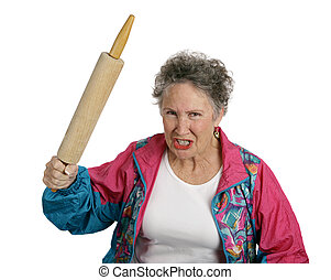 Angry Senior Lady with Rolling Pin - A very angry senior...