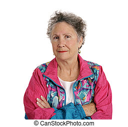 Distrustful Senior Lady - A senior woman in a track suit...