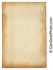 old paper page on white - old paper page isolated on white...