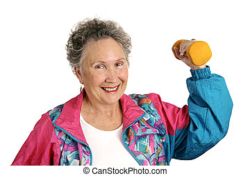 Senior Fit & Friendly - A friendly, smiling senior woman in...
