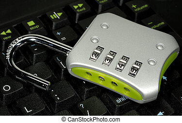 Computer Security - Photo of a Lock on a Keyboard - Computer...