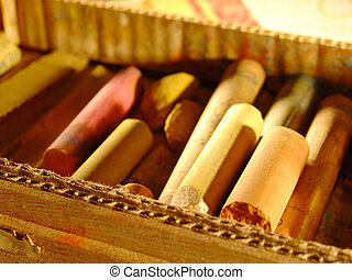Old Pastels - some great old pastels in a wood box
