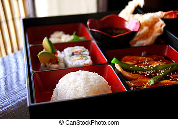Japanese food - Assorted japanese food bento served a wooden...