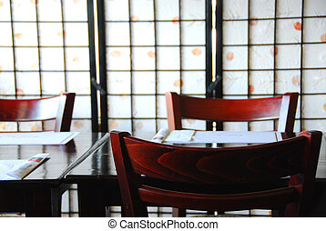 Japanese restaurant - Interior of a empty modern japanese...