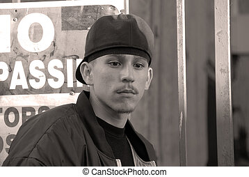 Latino Boy - A Portrait - No Trespassing - A teenage Latino...