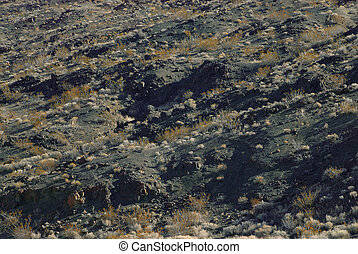 The black and gold texture of mountainous rock and sagebrush in the desert of Death Valley in Arizona, USA.