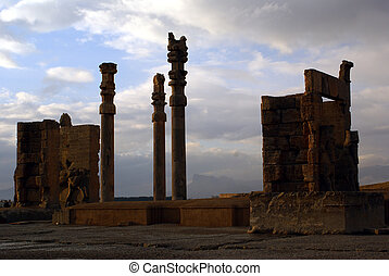 Gate and columns in old persian city Persepolis, Iran