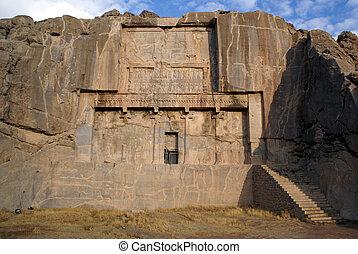 Royal tomb in old persian city Persepolis, Iran