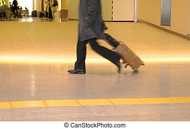 Traveller abstract - Motion blur image of a traveler...