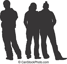 TEENAGERS - SILHOUETTES - Dark image outlined against a...