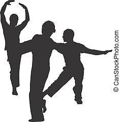 DANCE - DANCERS - SILHOUETTES - Dark image outlined against...