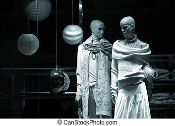 two mannequin - wool wear,special black and white fx , focus...