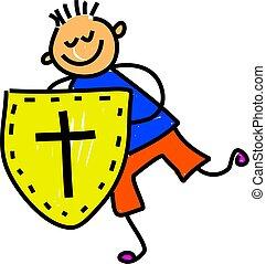 shield of faith - little boy holding shield of faith -...