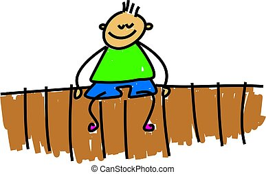 sitting on the fance - little boy sitting on a garden fence...