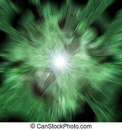 green blast - An abstract green background with a center...