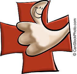 Thumbs up - thumbs up with a red cross