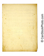 old paper - sheet of old paper isolated on white