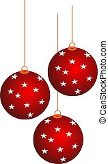 christmass ball - Elegant red Christmas balls with gold...